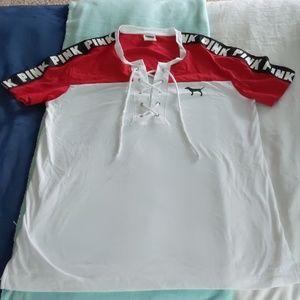 PINK white cross tie t shirt
